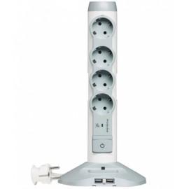 Разклонител с 4 гнезда и кабел 2м, с USB слот и защита